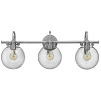 Hinkley 50034CM Congress 3 Light 30 inch Chrome Bath Light Wall Light, Retro Glass