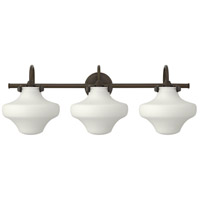 Hinkley 50035OZ Congress 3 Light 30 inch Oil Rubbed Bronze Bath Wall Light, Retro Glass