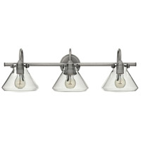 Hinkley 50036AN Congress 3 Light 30 inch Antique Nickel Bath Light Wall Light, Retro Glass