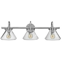 Congress 3 Light 30 inch Chrome Bath Light Wall Light, Retro Glass
