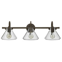 Hinkley 50036OZ Congress 3 Light 30 inch Oil Rubbed Bronze Bath Light Wall Light, Retro Glass