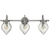 Hinkley 50037AN Congress 3 Light 30 inch Antique Nickel Bath Light Wall Light, Retro Glass