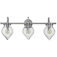 Hinkley 50037CM Congress 3 Light 30 inch Chrome Bath Wall Light, Retro Glass