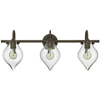 Hinkley 50037OZ Congress 3 Light 30 inch Oil Rubbed Bronze Bath Light Wall Light, Retro Glass