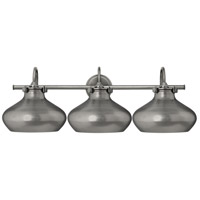 Hinkley 50038AN Congress 3 Light 31 inch Antique Nickel Bath Light Wall Light, Retro Glass