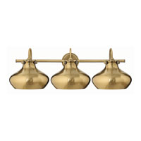 Hinkley 50038BC Congress 3 Light 31 inch Brushed Caramel Bath Wall Light, Retro Glass