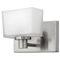 Hinkley 5020BN Taylor 1 Light 8 inch Brushed Nickel Bath Sconce Wall Light in Etched White