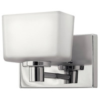Hinkley 5020CM Taylor 1 Light 8 inch Chrome Bath Vanity Wall Light in Inside-Painted White,  Outside-Etched