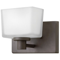Hinkley 5020KZ Taylor 1 Light 8 inch Buckeye Bronze Bath Sconce Wall Light in Etched White, Etched White Glass