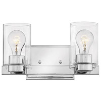 Hinkley 5052CM-CL Miley 2 Light 13 inch Chrome Bath Light Wall Light in Incandescent, Clear