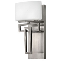 Hinkley Lighting Lanza 1 Light Bath Vanity in Antique Nickel with Etched Opal Glass 5100AN-LED
