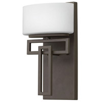 Hinkley Lighting Lanza 1 Light Bath Vanity in Buckeye Bronze with Etched Opal Glass 5100KZ