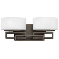 Hinkley Lighting Lanza 2 Light Bath Vanity in Buckeye Bronze with Etched Opal Glass 5102KZ