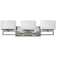 Hinkley Lighting Lanza 3 Light Bath Vanity in Antique Nickel with Etched Opal Glass 5103AN-LED