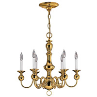 Hinkley 5126PB Virginian 6 Light 22 inch Polished Brass Chandelier Ceiling Light