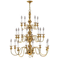 Hinkley 5127PB Virginian 20 Light 37 inch Polished Brass Chandelier Ceiling Light, 3 Tier