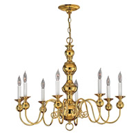 Hinkley 5128PB Virginian 8 Light 30 inch Polished Brass Chandelier Ceiling Light
