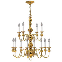 Hinkley 5129PB Virginian 12 Light 30 inch Polished Brass Chandelier Ceiling Light, 2 Tier