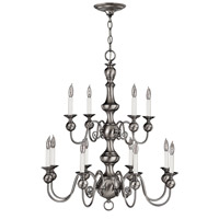 Hinkley Lighting Virginian 12 Light Chandelier in Pewter 5129PW photo thumbnail