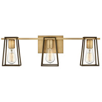 Filmore 3 Light 24 inch Heritage Brass with Oil Rubbed Bronze Accents Bath Light Wall Light