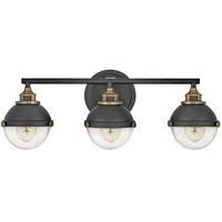 Hinkley 5173BK Fletcher 25 inch Black with Heritage Brass Bath Light Wall Light