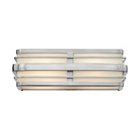 Winton 2 Light 16 inch Brushed Nickel Bath Vanity Wall Light in GU24, Inside White Etched Panels Glass