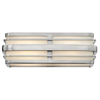 Winton 2 Light 16 inch Brushed Nickel Bath Vanity Wall Light in LED, Inside White Etched Panels Glass