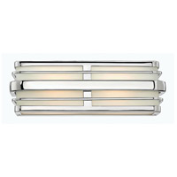 Winton 2 Light 16 inch Chrome Bath Vanity Wall Light in LED, Inside White Etched Panels Glass