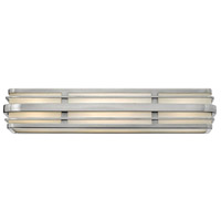 Winton 4 Light 26 inch Brushed Nickel Bath Vanity Wall Light in LED, Inside White Etched Panels Glass
