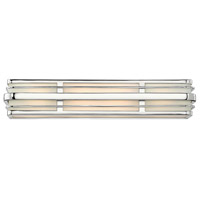 Winton 4 Light 26 inch Chrome Bath Vanity Wall Light in LED, Inside White Etched Panels Glass