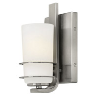 Adele 1 Light 5 inch Brushed Nickel Bath Wall Light, Etched Opal Glass