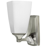 Hinkley 53010PN Darby 1 Light 6 inch Polished Nickel Bath Sconce Wall Light, Etched Opal Shades