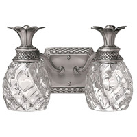 Hinkley 5312PL Plantation 2 Light 13 inch Polished Antique Nickel Bath Light Wall Light