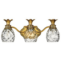 Plantation 3 Light 21 inch Burnished Brass Bath Light Wall Light