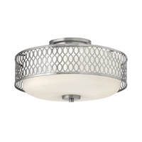 Jules 3 Light 15 inch Brushed Nickel Semi-Flush Ceiling Light in GU24, Etched Opal Glass