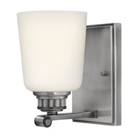 Annette 1 Light 5 inch Polished Antique Nickel Bath Vanity Wall Light, Etched Opal Glass