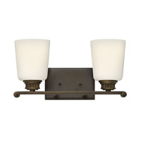 Annette 2 Light 15 inch Olde Bronze Bath Wall Light, Etched Opal Glass