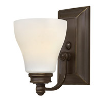 Hinkley 53580OZ Claire 1 Light 5 inch Oil Rubbed Bronze Bath Wall Light, Etched Opal Glass