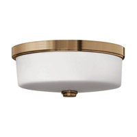 Signature 1 Light 17 inch Brushed Bronze Flush Mount Ceiling Light in LED, Etched Opal Glass