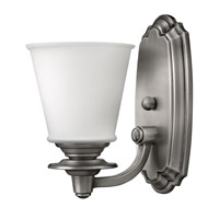 Plymouth 1 Light 6 inch Polished Antique Nickel Bath Vanity Wall Light, Etched Opal Glass