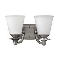 Hinkley 54262PL Plymouth 2 Light 14 inch Polished Antique Nickel Bath Vanity Wall Light, Etched Opal Glass