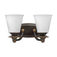 Hinkley 54262OB Plymouth 2 Light 14 inch Olde Bronze Bath Vanity Wall Light, Etched Opal Glass