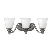Hinkley 54263PL Plymouth 3 Light 22 inch Polished Antique Nickel Bath Vanity Wall Light, Etched Opal Glass