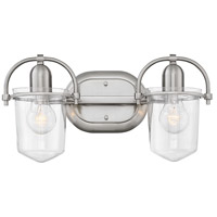 Clancy 2 Light 16 inch Brushed Nickel Bath Sconce Wall Light in Clear Seedy