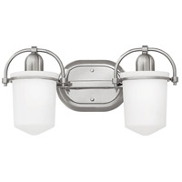 Hinkley 5442BN Clancy 2 Light 16 inch Brushed Nickel Bath Light Wall Light in Etched Opal
