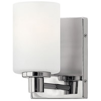 hinkley 54620cm karlie 1 light 5 inch chrome bath sconce wall light etched opal glass