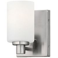 Hinkley 54620BN Karlie 1 Light 5 inch Brushed Nickel Bath Vanity Wall Light, Etched Opal Glass