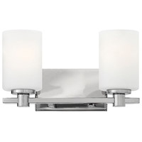 Hinkley 54622CM Karlie 2 Light 13 inch Chrome Bath Light Wall Light, Etched Opal Glass