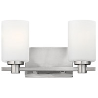 Hinkley 54622BN Karlie 2 Light 13 inch Brushed Nickel Bath Vanity Wall Light, Etched Opal Glass