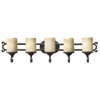 Hinkley 5545OL Casa 5 Light 36 inch Olde Black Bath Light Wall Light in Antique Scavo
